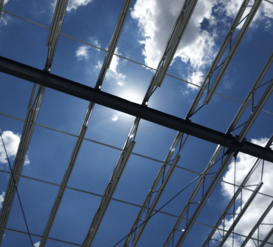 steel roofing with sky