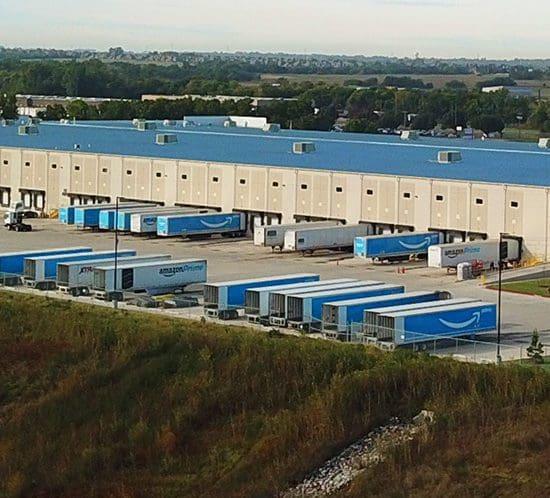 Amazon Sortation Facility - Truck View