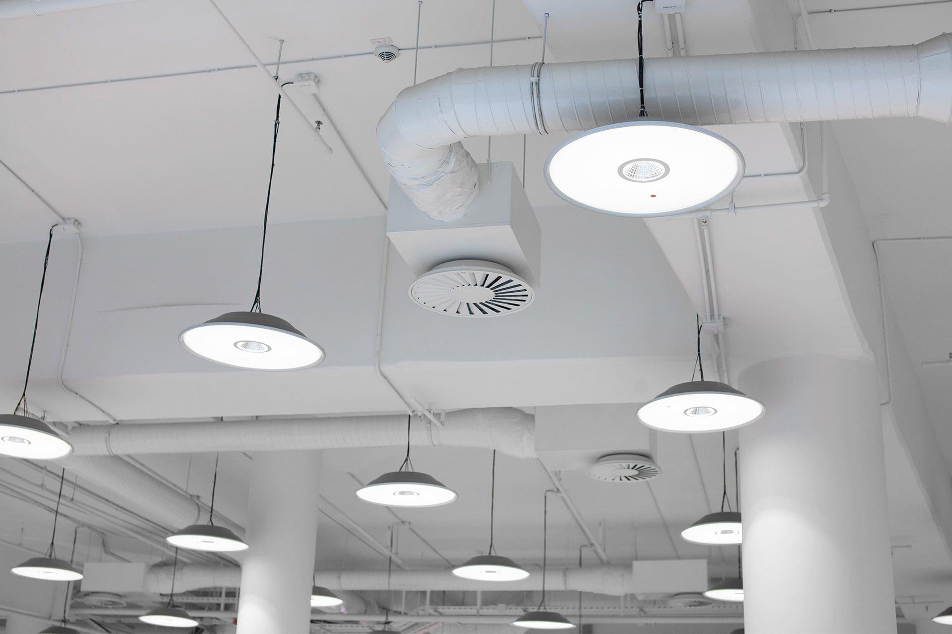 Overhead lights and HVAC